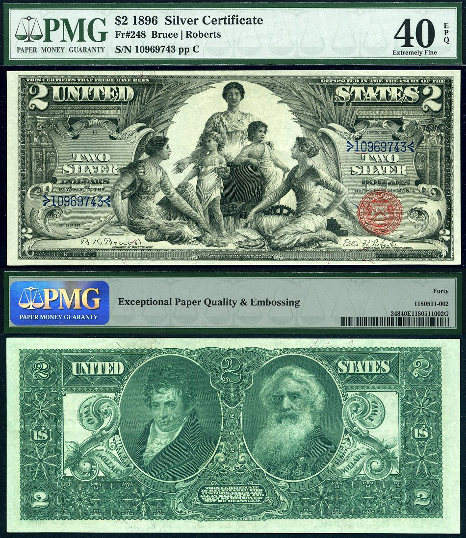 1896 2 silver certificate educational fr 248 pmg graded ef40epq 1896 2 silver certificate educational fr 248 xflitez Images