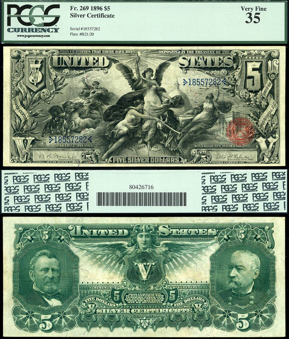 1896 5 Silver Certificate Fr 269 034 Educational Note 034