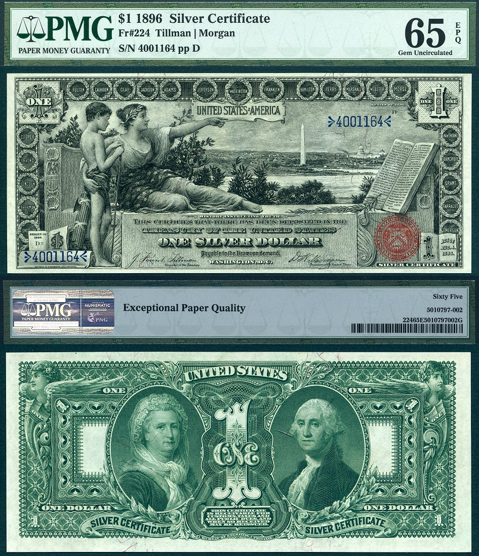 1896 $1 Silver Certificate Educational Series FR-224 PMG