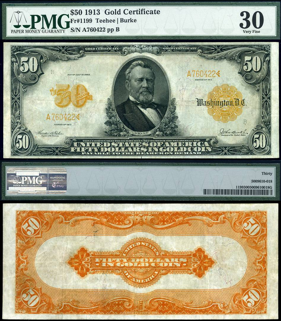 1913 50 gold certificate fr 1199 pmg very fine 30 large size note