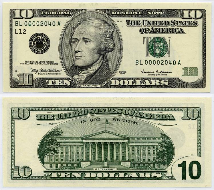 1999 $10 Federal Reserve Note S/N BL 00002040 A