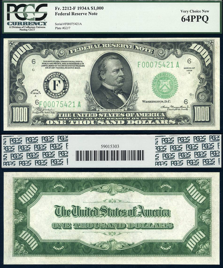 1934 A $1000 Federal Reserve Note FR-2212-F Atlanta Georgia