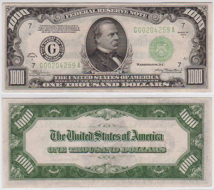 1934 A $1000 Federal Reserve Note One Thousand Dollar bill